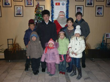The host family, in front of some Russian-induced Christmas pageantry.