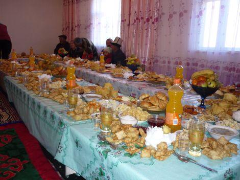 A Kyrgyz table, set for a feast.