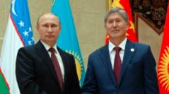 Russian President Vladimir Putin with Kyrgyz President Almazbek Atambaev