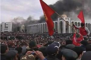 Protesters in Bishkek's main square during the 2010 revolution