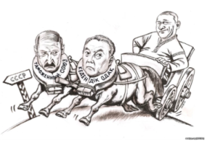 A Ukrainian cartoon from April, 2014, mocking Yanukovych for dragging Ukraine back into the Soviet Union by rejecting the EU deal in contemplation of joining the Eurasian Union instead.