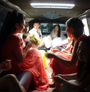 In a stretch limo, galavanting around Bishkek.