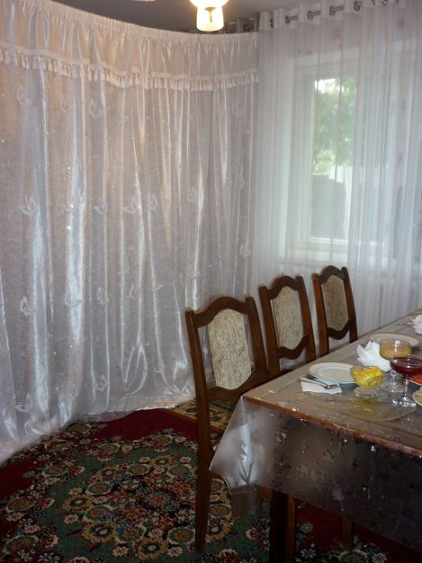 The curtain, behind which the bride is waiting for her next viewer.
