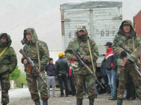 Kyrgyz border guards manning one of the Kyrgyz-Tajik transit roads, 2014.