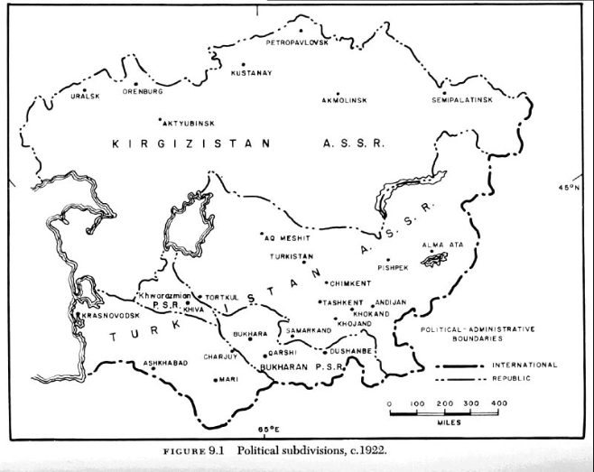 A map of Central Asia as of 1922, when it was already under Soviet rule. As of this early date, the Soviets had simply adopted the political administration of the Russian empire, dividing Central Asia into two districts: the Kirghiz Soviet Socialist Autonomy, roughly covering what is now the Kazakh and Kyrgyz Republics; and the Turkestan SSA, roughly covering what is now the Uzbek, Tajik and Turkmen Republics.