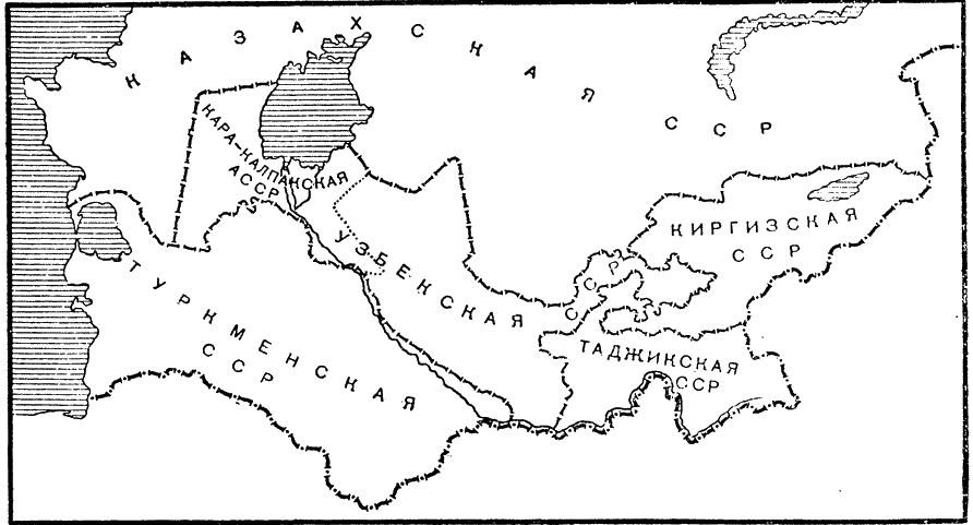 Soviet Central Asia by the late 1930's. The Kyrgyz and Tajik SSRs exist in roughly the same configuration as today, though with some notable differences: there is no Tajik enclave on the Kyrgyz territory, and the borders are at best vaguely demarcated. Soviet authorities - Stalin, specifically - put an end to national territorial delimitation by the late 1930's, leaving remaining un-demarcated borders as  open and unresolved questions.